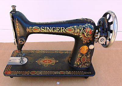 Antique Red Eye Singer Sewing Machine For Repair Or Parts