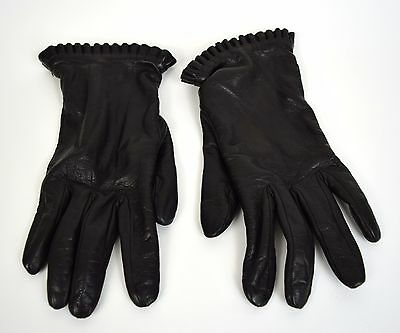 Portolano Gloves Black Leather Ruffle Hem Lambswool Angora Lining 7.5 Womens