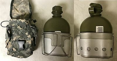 """US Military Issue 1 Qt Canteen Set - 4 Piece,Canteen,Cup,Stand & ACU Cover """"NEW"""""""