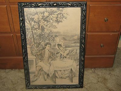 Antique Turn Of Century French Framed Tapestry Colonial Couple In Garden