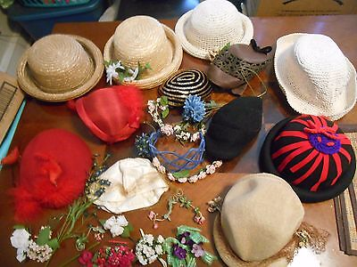 Large Vintage Hat Lot W/ Extra Millinery Flowers