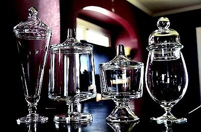 Lot Of 4-Tall Pedestal Glass Apothecary Or Candy Jars Wedding Buffet Displays