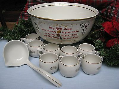 VTG HALL OLD CROW White Punch Bowl Set 8 Cups & Ladle TomJerry EggNog Glogg XMAS