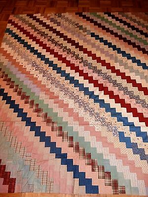 "Antique Vintage Stair Step Quilt Top 74"" x 79"" early fabrics Primitive"