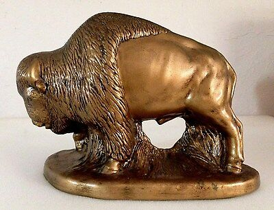 Decor Bronze Light Weight Bison Buffalo Figurine Statue - Used