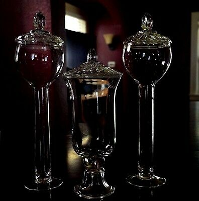 Lot Of 3-Tall Pedestal Glass Apothecary Or Candy Jars Wedding Buffet Displays