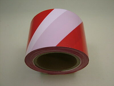 100 metre Roll Safety Hazard Warning Barrier Tape Non Adhesive Red & White 80mm