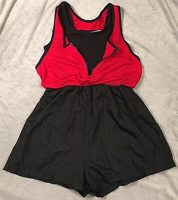 VTG Romper Swim Suit Black Red Zip Up Tank Top Shorts 1-Piece Swim Medium