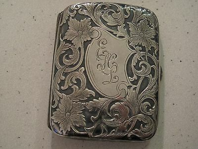 Antique STERLING SILVER Card Case Cigarette Case 61.6 grams