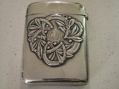 Antique ART NOUVEAU STERLING SILVER Card Case Cigarette Case FRANK WHITING