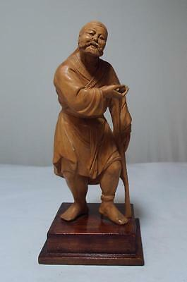 Chinese Cultural Revolution Hand Carved Wood Figure Beggar