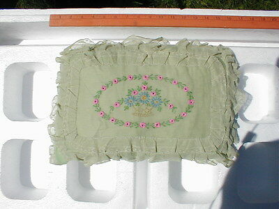 VINTAGE 1920'S LACE BOUDOIR EMBROIDERED PILLOW - RECTANGLE SHAPE (d)