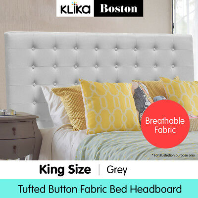 King Linen Fabric Bed Frame Headboard Head bed Wood Upholstered Tufted Grey