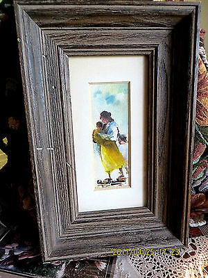 """Original Water Color By Antimo Beneduce Mother And Child Vintage 1 3/4 X 4 3/4"""""""