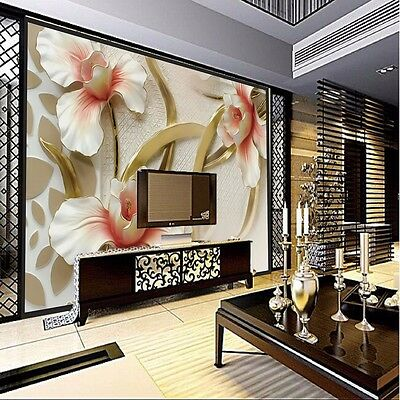 3D Wallpaper Lily Flower Large Wall Sticker Background Living Room Home Decor