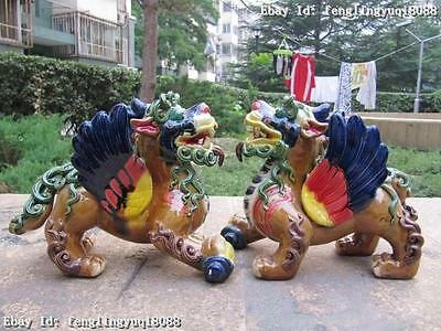 Tibet Wu Cai porcelain Foo Dogs kylin beast Lion Pair