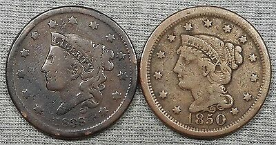 Lot Of 2 US Large Cents - 1838 Coronet Head & 1850 Braided Hair