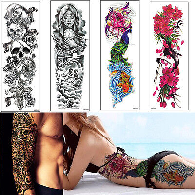 New Large Removable Stickers Body Art Temporary Tattoos Waterproof Flower Skull