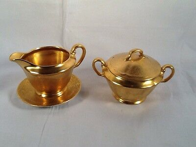 Wheeling Decorating Company, Gold Creamer and Sugar,DISHES WEST VIRGINIA