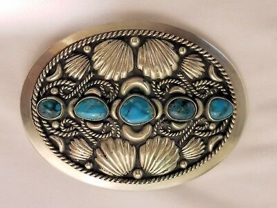 Vintage Alpaca Silver and Turquoise Belt Buckle Mexico