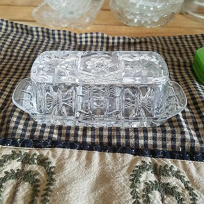 Vintage Anchor Hocking EAPC Star of David Butter Dish, glass vintage star david