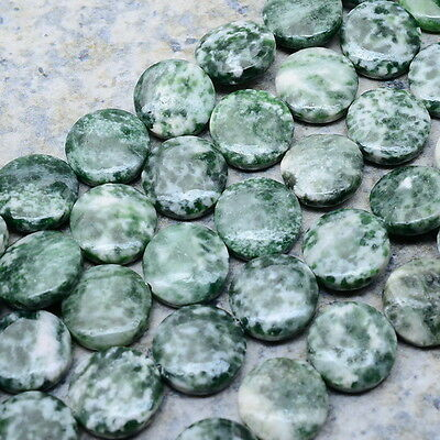 """15 1/2"""" Natural Tree Agate Gemstone Button Beads Strand 13X13X5Mm"""