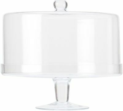 Maxwell & Williams Diamante Glass Cake Stand With Straight Dome - 30cm