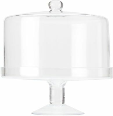 Maxwell & Williams Diamante Glass Cake Stand With Straight Dome - 25cm