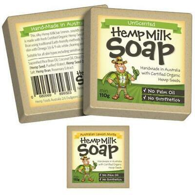 Hemp Milk Soap Bar Organic Certified | Unscented or Lemon Myrtle Available