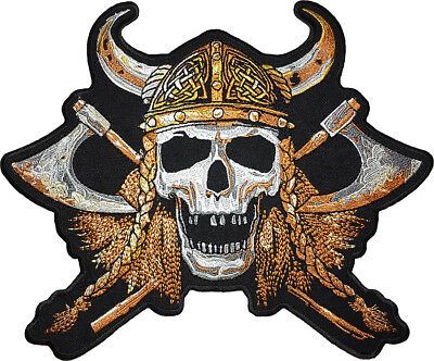 LARGE SIZE Viking Skull Cross Battle Axes Helmet Embroidered Sew Iron on Patch L