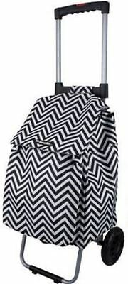 New D.line Shop & Go Polo Shopping Trolley W/ Retractable Handle Chevron Stripe