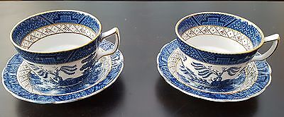 Booths Real Old Willow Cup & Saucer, Scalloped Edge x 2