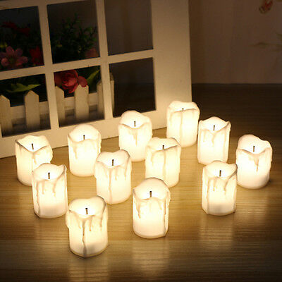 12 LED Tea Light Candle Tealight Flameless Flickering Battery Operated Wedding