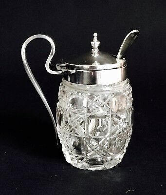 Lovely Antique Silver-Plated Cut Glass Mustard Pot With Spoon