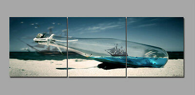 3pcs Bottle Boat Abstract Home Wall Decor Art Photo Painting Canvas NO Frame 346