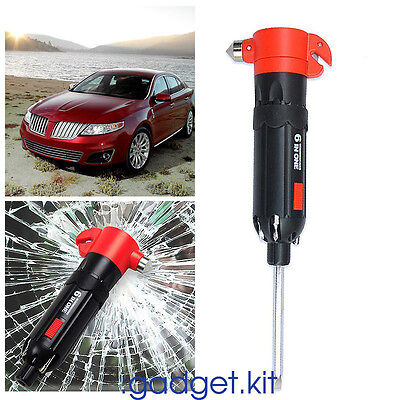 Window Breaker Hammer 6 in 1 Car Emergency Escape Glass Safety Seat Belt Cutter