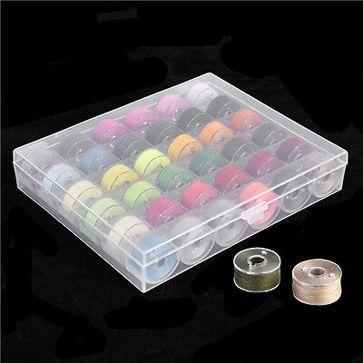 25/36 Slots Bobbins Box Organizer +Colorful Sewing Thread Clear Storage Case Set