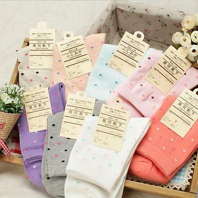 Beautiful Cute Women's Girl's Dots Ankle Socks 2 Pairs 100% Cotton Casual Warmer