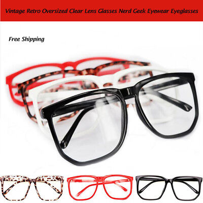 Large Oversized Geek Fashion Glasses Clear Lens Thin Frame Nerd Glasses AU