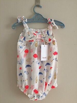 NEW Seed Heritage Baby Girls Bow Romper Size 0 Or 6-12 Months