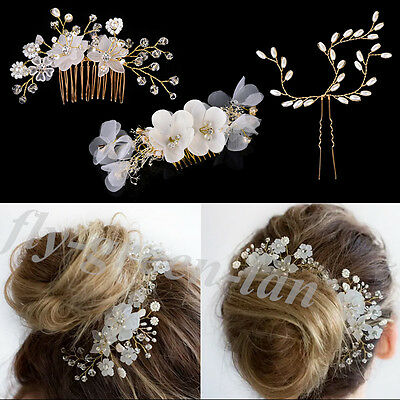 Chic Crystal Rhinestone Pearl Hairpin Flower Hair Clip Comb Wedding Jewelry Gift
