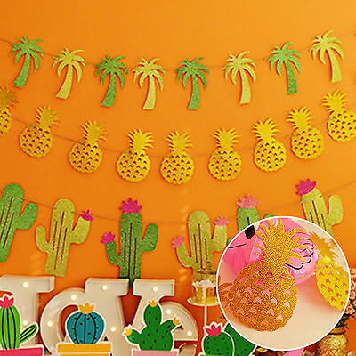 Giltter Gold Pineapple,Coconut,Cactus Banner For Party,Tropical Wedding Decor