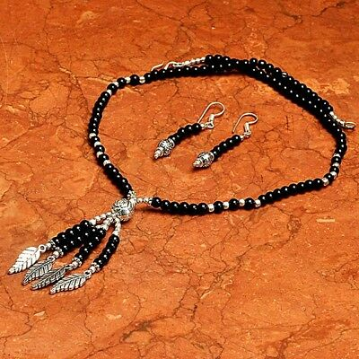 Black Onyx 925 Sterling Silver Overlay Necklace,Earrings Jewelry ABJ3084