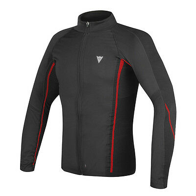 Dainese D-Core No Wind Thermo LS Black / Red Moto Tee Base Layer | All Sizes
