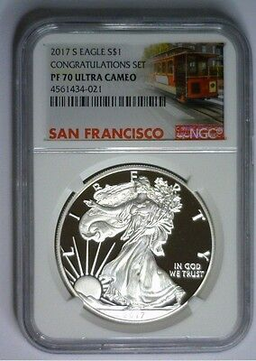 2017-S NGC PF70 PROOF Silver Eagle Trolley Label Congratulation Set #M1
