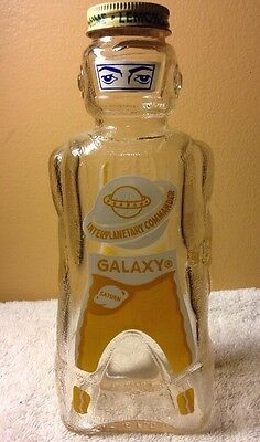 Galaxy Space Syrup Bottle Vintage 1953 Coin Piggy Bank Sci-Fi Rocket Lemon Lime