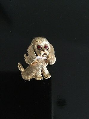 Vintage Cocker Spaniel w Ruby Eyes & White Bow Tie Pin Brooch Collectible
