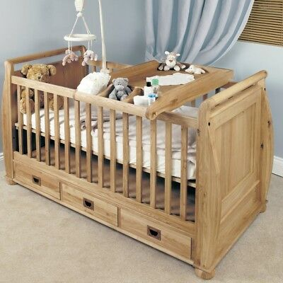 Amelie Solid Oak Baby Cot-Top Baby Changer