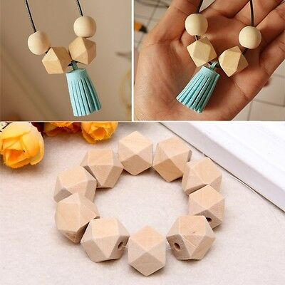 10pcs Wooden Geometric Natural Beads Unfinished For Jewelry Necklace Making
