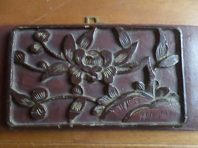 Antique Japanese Hand Carved Wooden Drawer Panel Wood Carving
